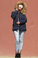 Зимова куртка з хутром єнота, темно-синя