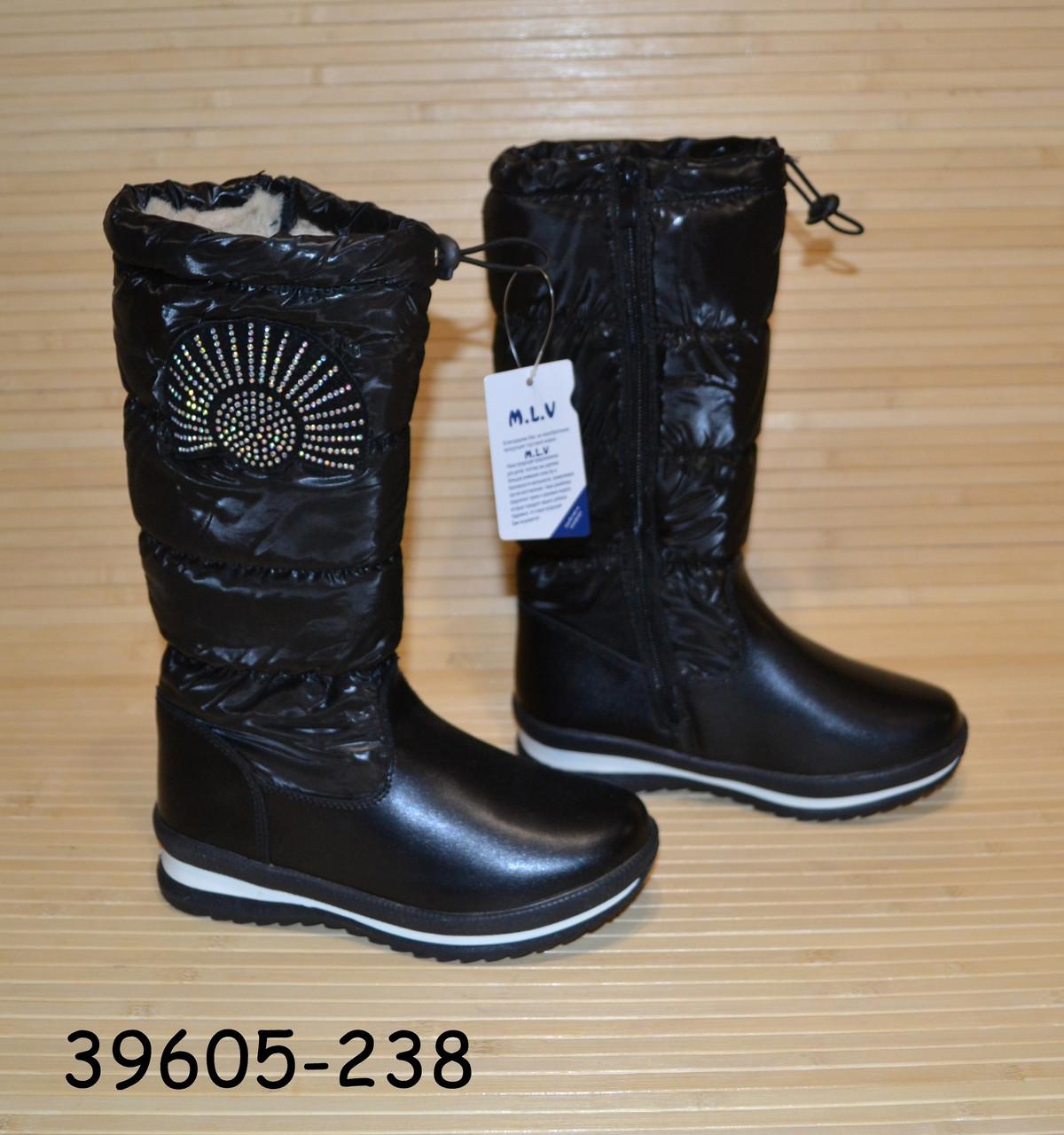 Зимние сапожки чёрные для девочки размеры 32