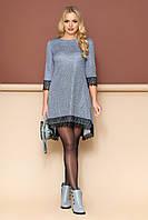 Элегантное платье трапеция с кружевом голубое