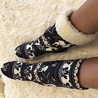 Тканевые женские стильные зимние сапожки с принтом Олени в наличии размер  37. Арт-0687 aed3ffa89caa0