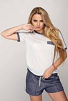 Женский спортивный костюм Лили: шорты и футболка из трикотажа с люрексом темно-синего с белым цвета