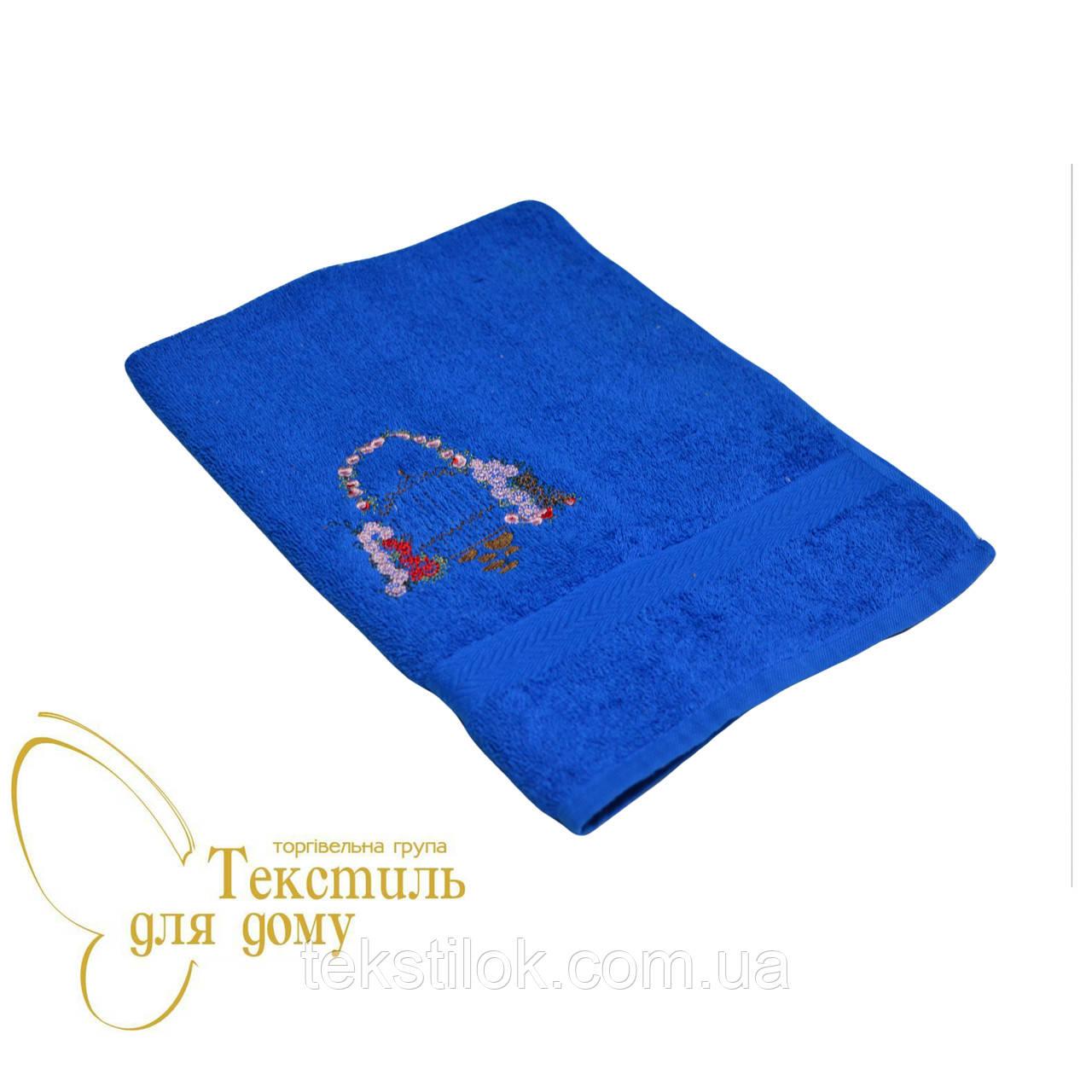 Полотенце для рук 40*70 вышивка букет, синий