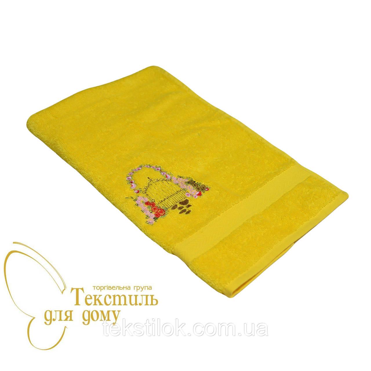 Полотенце для рук 40*70 вышивка букет, желтый