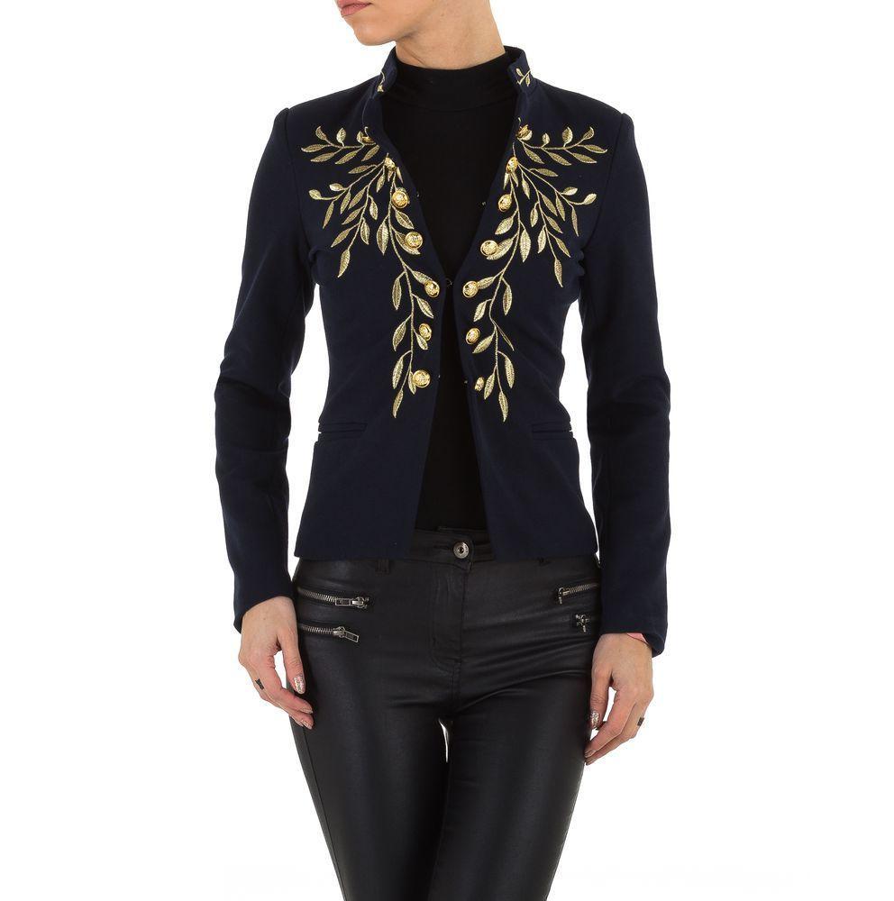 Пиджак женский с вышивкой на груди  (Европа), Темно-синий