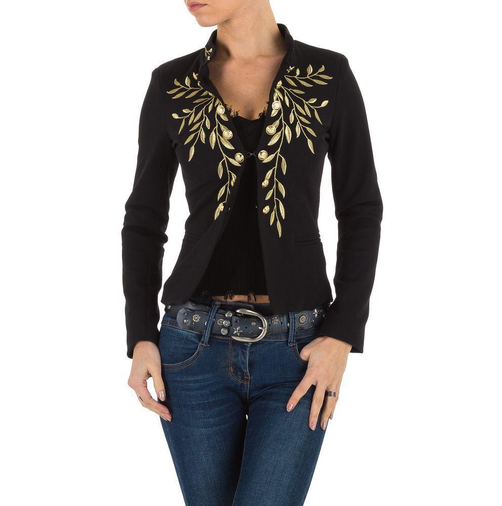 Пиджак женский с золотой вышивкой на груди (Европа), Черный