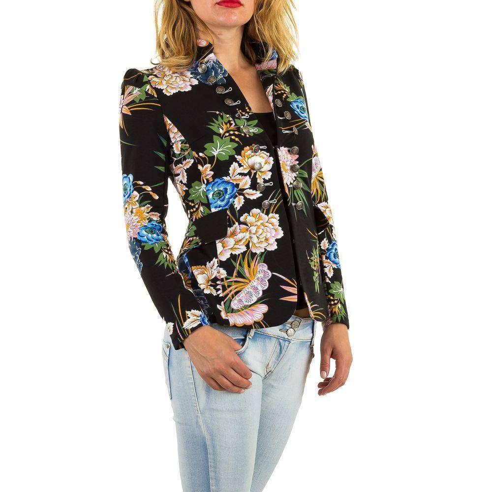 Пиджак милитари женский цветочный (Европа), Черный