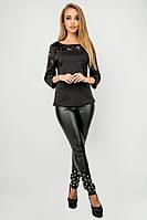 Туника Карис (черная) свободного кроя с гипюром рукав 3/4 44-52 размера, фото 1