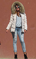Зимова куртка з хутром єнота, молочна