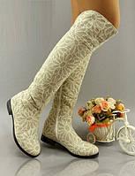 Бежевые стильные льняные женские высокие сапоги-ботфорты с принтом ромашки. Арт-0133