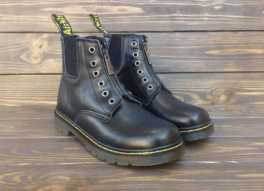 Мужские кожаные ботинки c 8 парами люверсов в стиле Dr. Martens Originals  Black a132d4c134461
