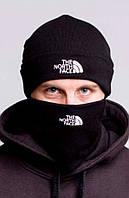 Шапка и бафф комплект черная теплая двойная мужская The North Face Зе Норс Фейс