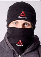 Шапка и бафф комплект черного цвета теплая зимняя от Reebok Рибок