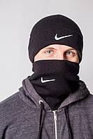 Шапка и бафф комплект спортивный черный теплый зимний от Найк