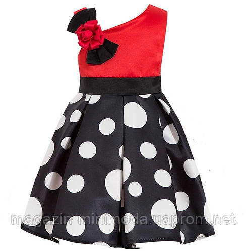 5e6cfdf0e63 Детское черно-красное платье в горошек