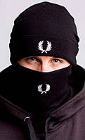 Комплект шапка и бафф черный мужской молодежный теплый зимний Fred Perry Фред Перри
