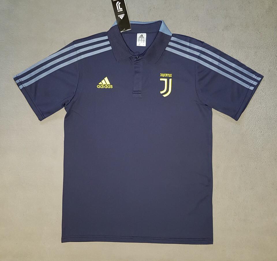 Футбольная футболка поло Ювентус темно-синяя