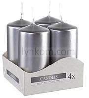 Свеча 4х8 см (4шт) серебро