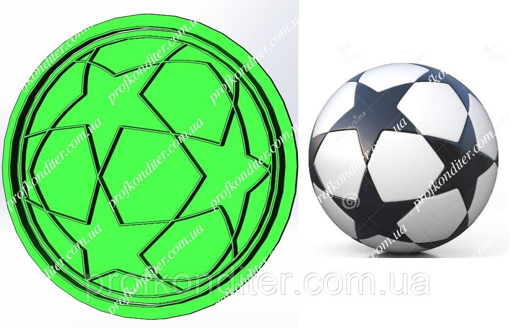 Пластиковая вырубка с оттиском Футбольный звездый мяч, диаметр 11см