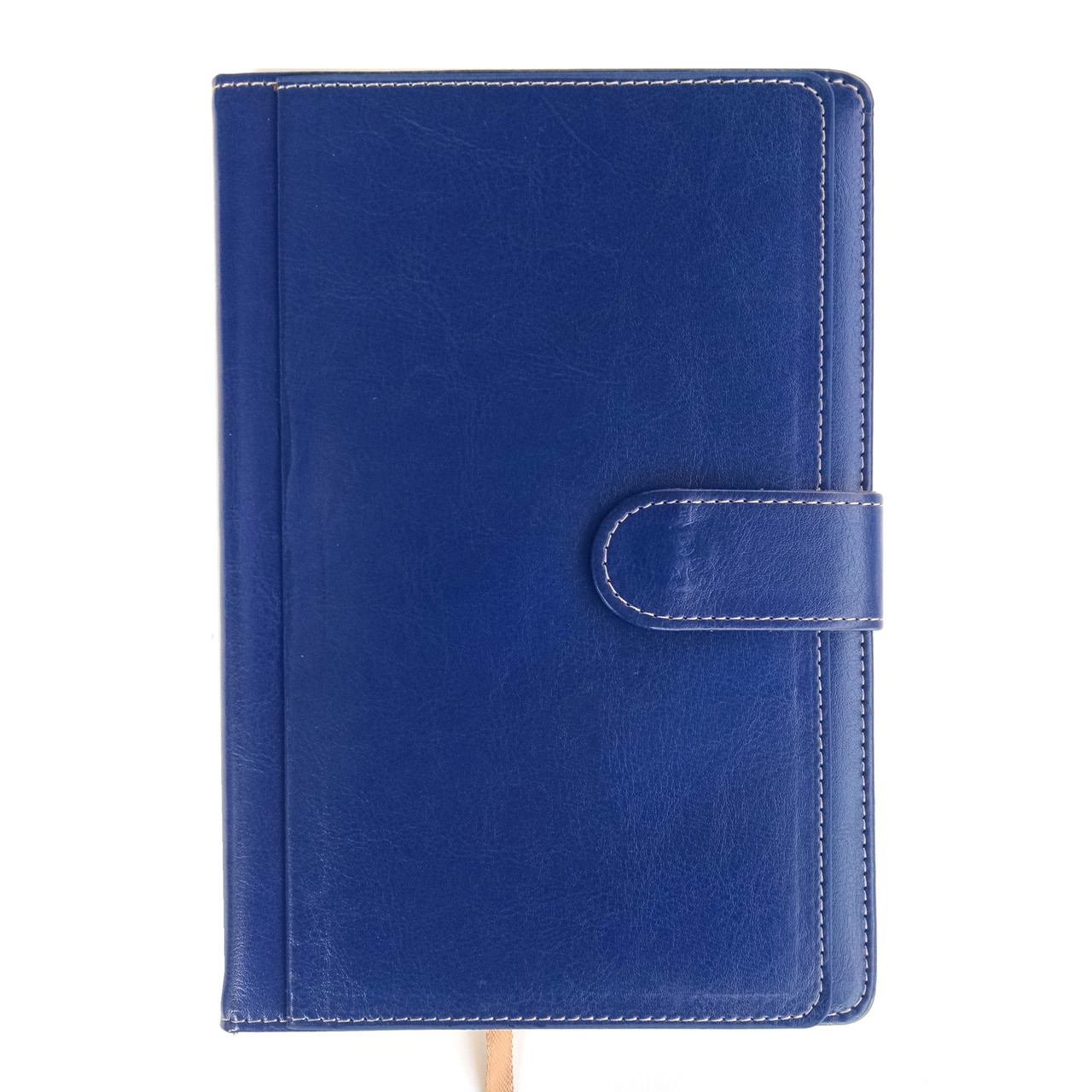 Ежедневник недатированный на магните А5, 150л., клетка №2514, синий с карманами