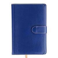 Ежедневник недатированный на магните А5, 150л., клетка №2514, синий с карманами, фото 1