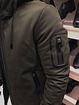 Куртка зимняя с капюшоном цвета хаки, фото 3