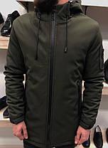 Куртка зимняя с капюшоном цвета хаки, фото 2