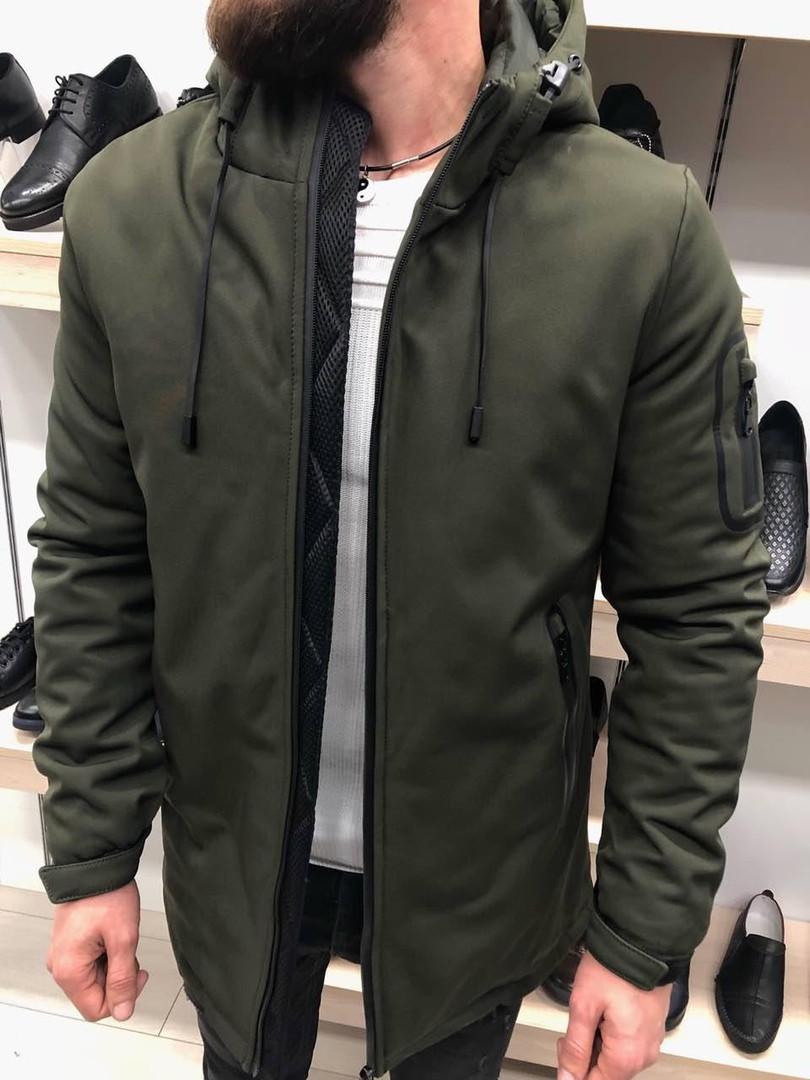 Куртка зимняя с капюшоном цвета хаки