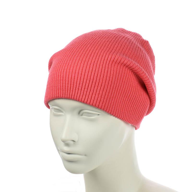 Вязаная шапка-чулок коралловый