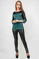 Туника Карис (зеленая) свободного кроя с гипюром рукав 3/4 44-52 размера, фото 1