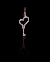 Золотой Кулон Ключ/сердце (0,8)