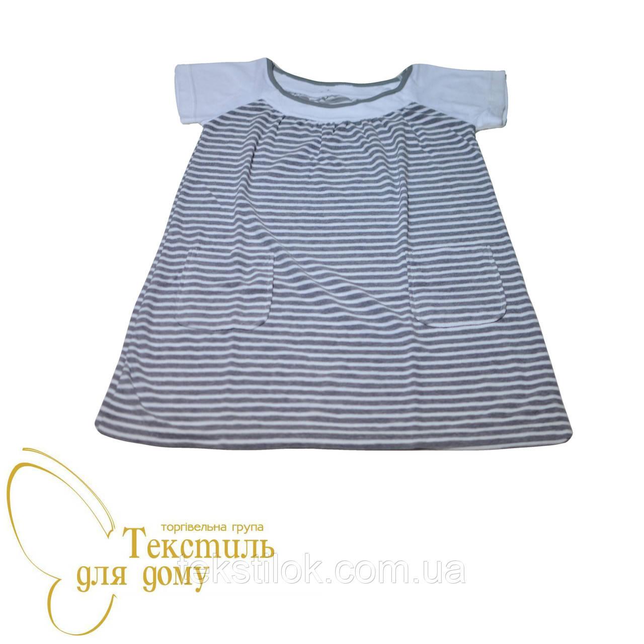 Платье домашнее, полоса, серый