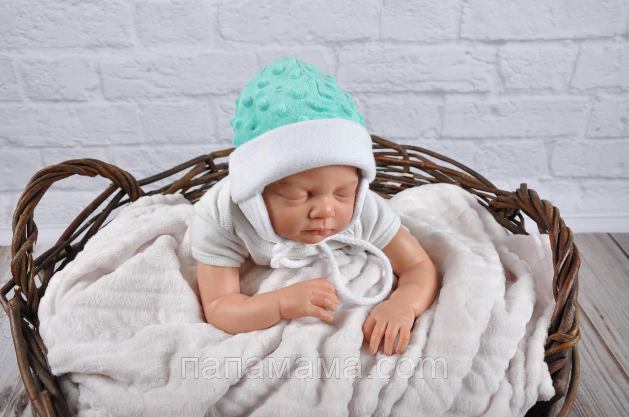 """Плюшевая шапочка """"Newborn"""", ментоловая"""