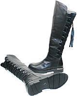 Сапоги женские кожаные на низком каблуке Flamingo 3001-siyah
