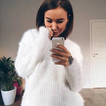 Белый свитер женский вязаный