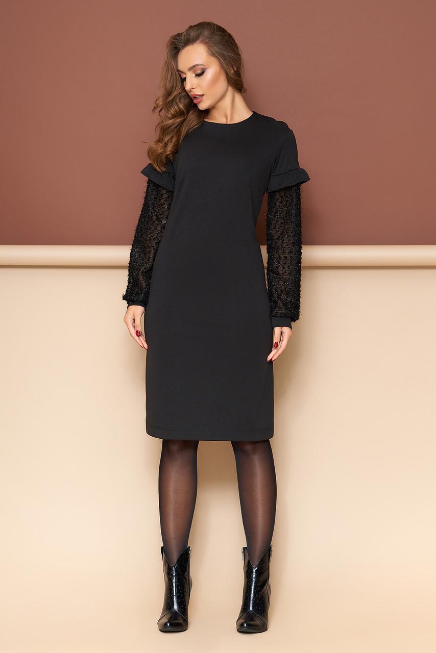 Трикотажное черное платье