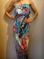 Макси платья без бретелей в цветочной расцветке