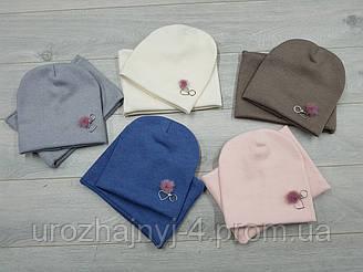 Трикотажный комплект шапка и хомут на флисе р50-52.