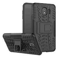 Чехол бампер противоударный бронированный TOTO Dazzle kickstand для Samsung Galaxy J4 J400 (2018) черный