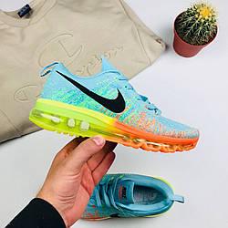 "Женские кроссовки Nike Air Flyknit Max 2014 ""Blue/Orange/Yellow"" (люкс копия)"