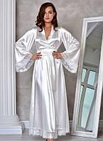 Изысканный длинный атласный халат для невесты Жемчужный (Молочный). Размеры от XS до ХL