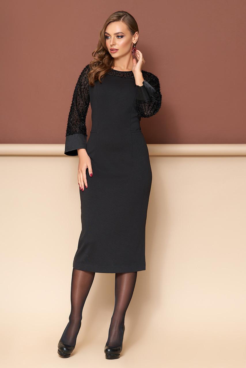 Нарядное черное платье футляр трикотажное