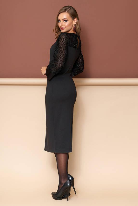 Нарядное черное платье футляр трикотажное, фото 2
