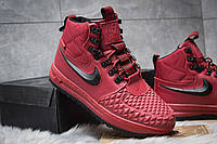 Зимние мужские ботинки на меху в стиле Nike LF1 Duckboot, бордовые. Код товара: KW - 30402