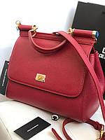 """Жіноча сумочка DOLCE&GABBANA """"Sicily"""" бордо натуральна шкіра (репліка), фото 1"""