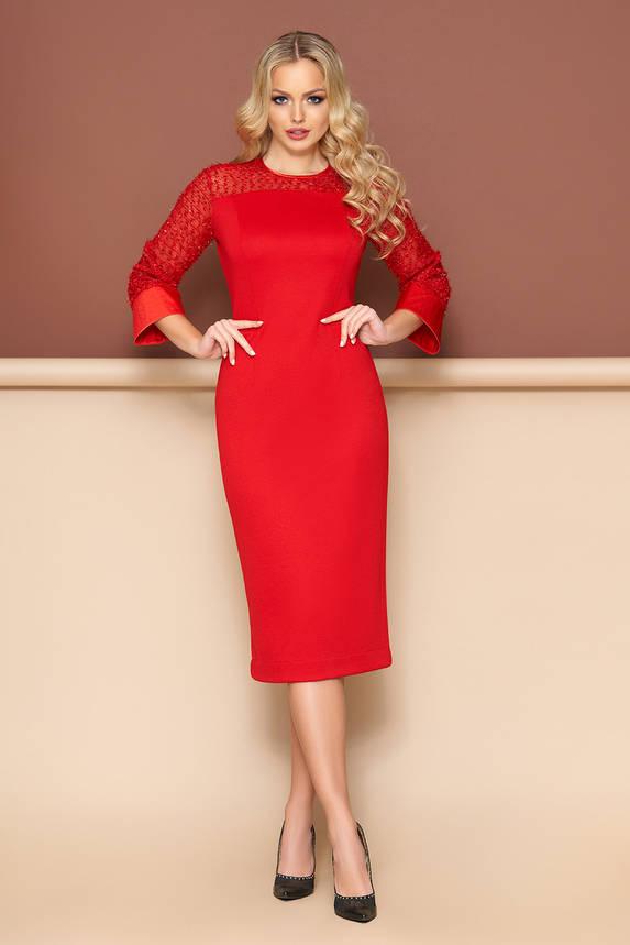 Нарядное красное платье футляр приталенное , фото 2