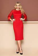 Нарядное красное платье футляр приталенное