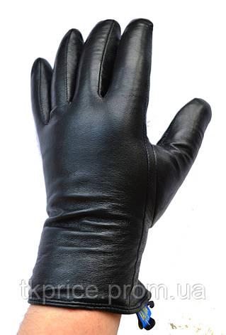 Мужские кожаные зимние перчатки шерстяном меху, фото 2