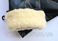Мужские кожаные зимние перчатки шерстяном меху, фото 3
