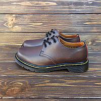 Мужские кожаные полуботинки туфли в стиле Dr. Martens 1461 Brown b6fc2985c0b8b