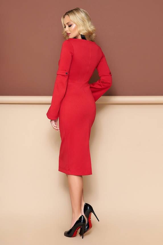 Красивое трикотажное платье футляр красного цвета, фото 2